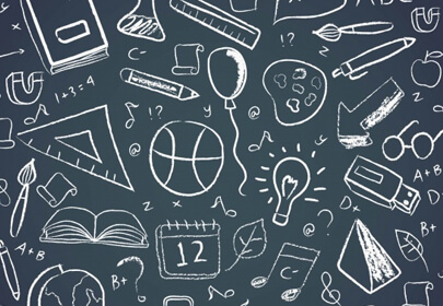 different school elements chalkboard style