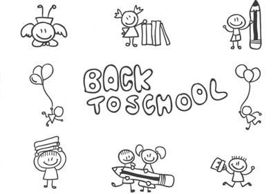 back school children doodle graphics