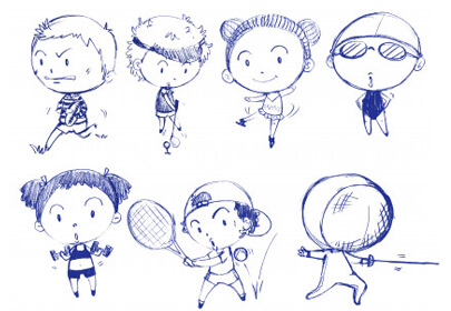 blue doodle design people playing different sports