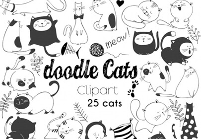 hand-drawn vector illustrations cats characters sketch style doodle