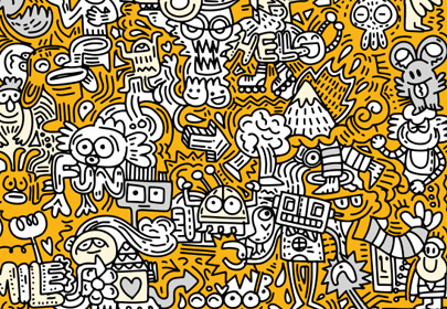hand-drawn vector illustration doodle funny world colorful