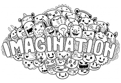hand drawn cute doodle monster imagination