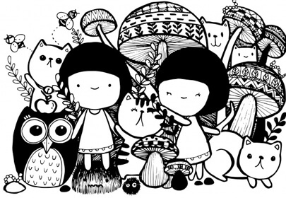 girls with cats hand-drawn style doodle design illustrations