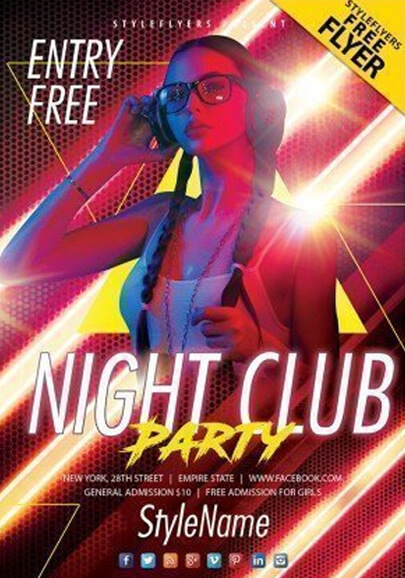 night club party free flyer psd