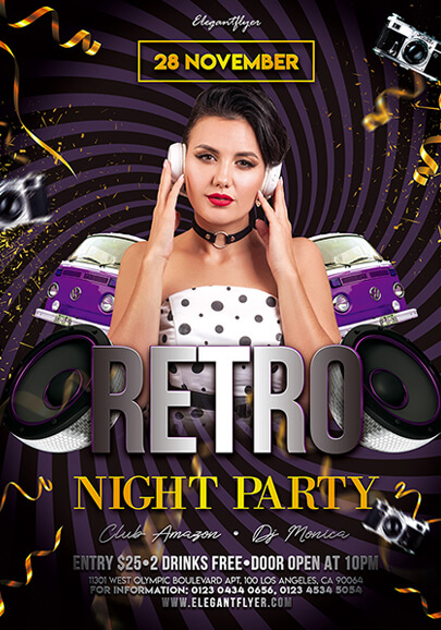 retro party free psd flyer template