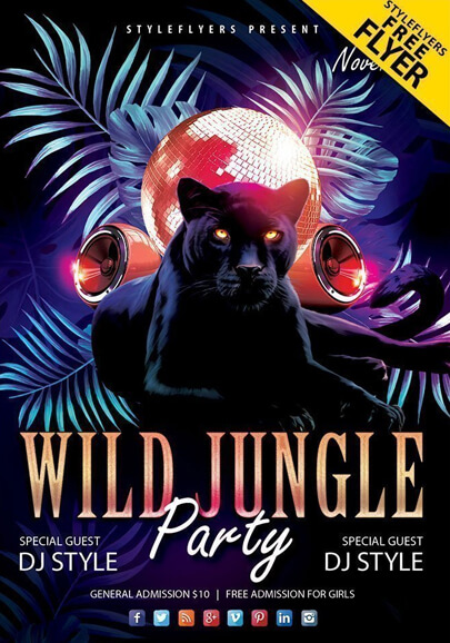 wild jungle party free psd flyer template