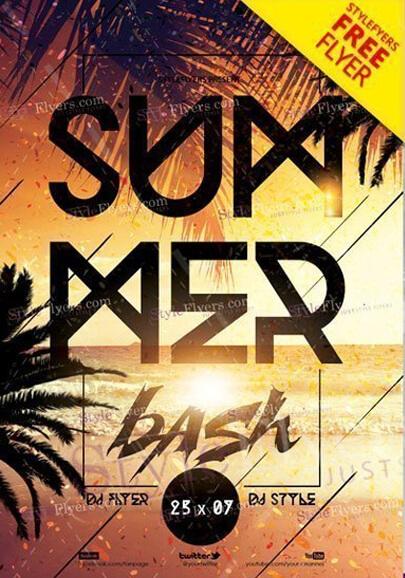 plantilla psd de flyer gratis de verano bash
