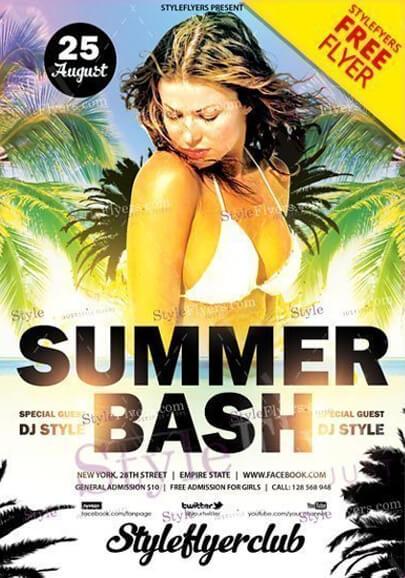verano bash flyer gratis psd