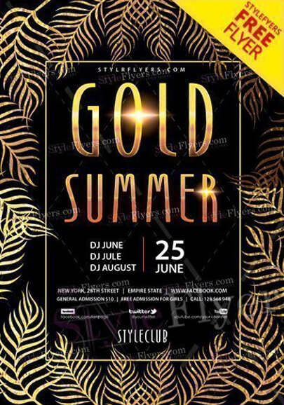 gold summer party free flyer psd