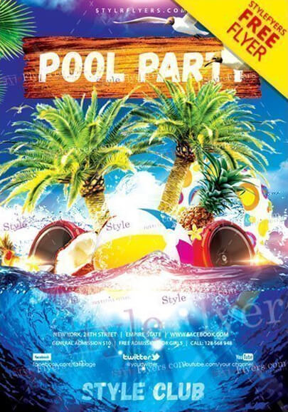 pool party free flyer psd