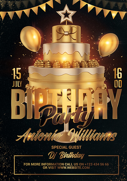 free birthday party flyer template in psd
