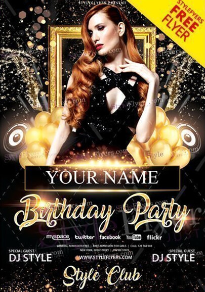 club birthday party free flyer psd template