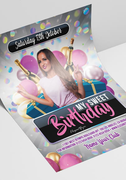 sweet birthday party free psd flyer template