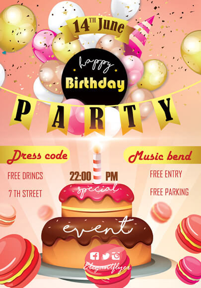 birtday party flyer psd template