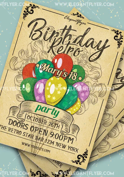 birthday retro party free flyer psd template