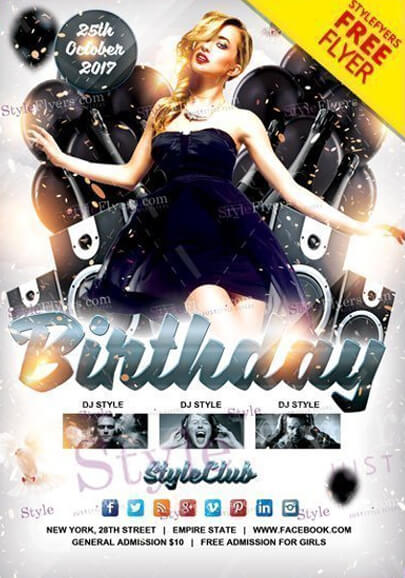 birthday free psd flyer template