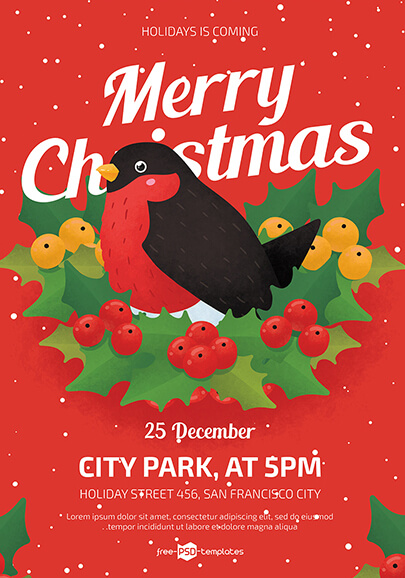 free merry christmas flyer template in psd
