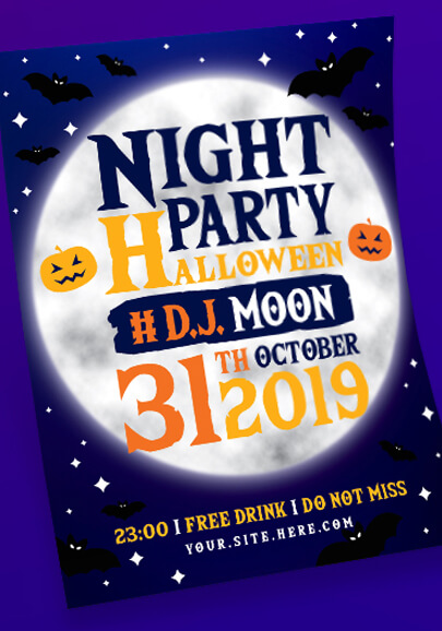 free night halloween party flyer template
