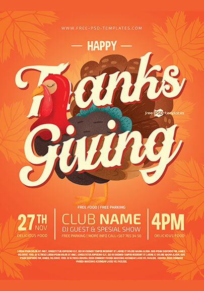 free psd thanksgiving flyer template