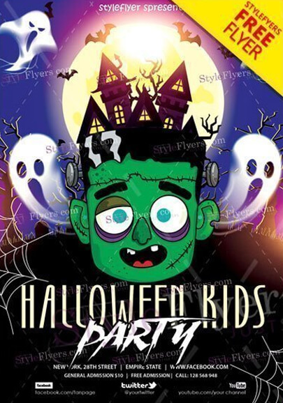 halloween kids party free psd flyer template