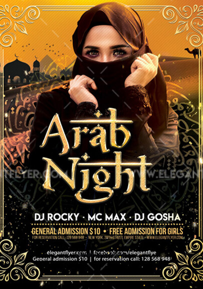 arab night party free flyer psd template