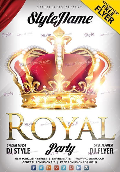 royal party free psd flyer template