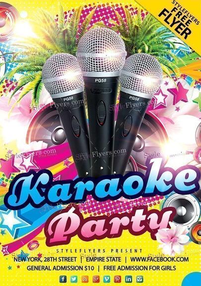 plantilla psd de volante gratis de karaoke