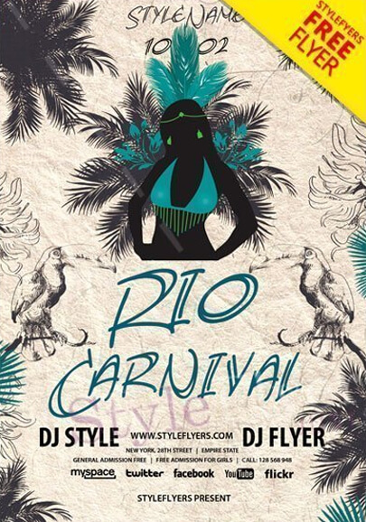 rio carnival 2018 free psd flyer template