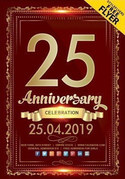 anniversary free psd flyer template