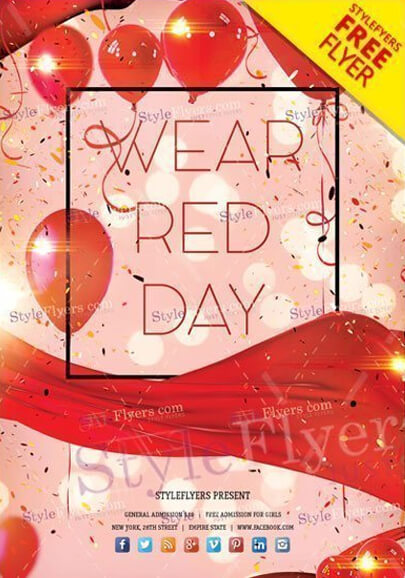 wear red day free psd flyer template