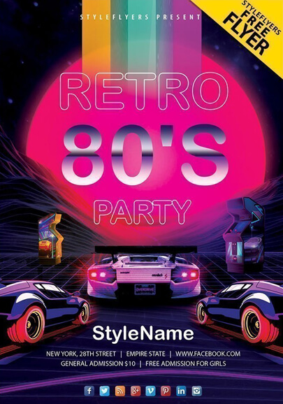 80s retro party free flyer psd