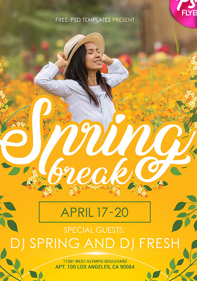 free spring flyer in psd