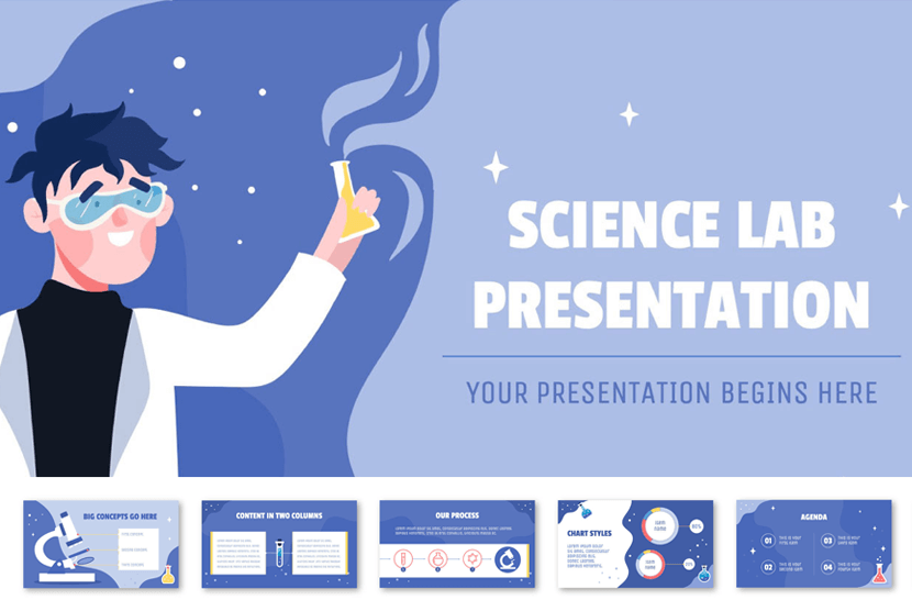 Illustrated Science Lab Themed PowerPoint PPT Template