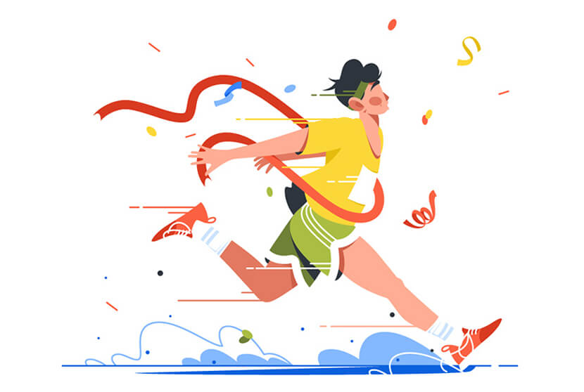Winning athlete crosses finish line Illustration Example 2020