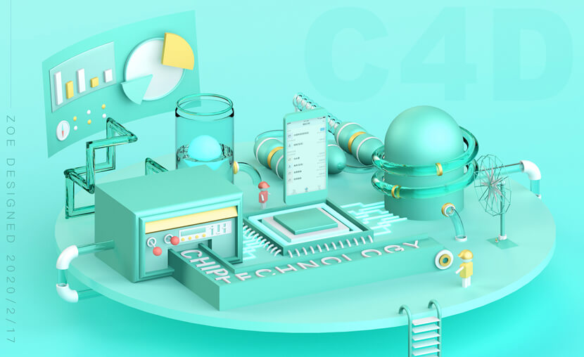 chip technology 3D style illustration
