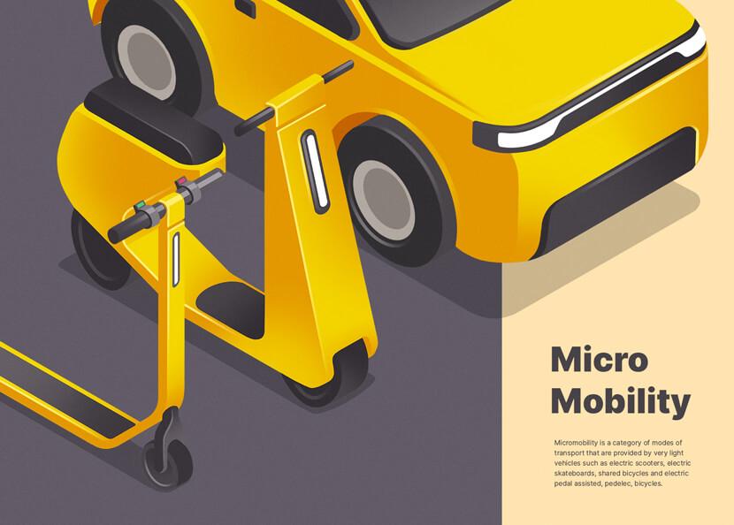Микромобильность красочный изометрический дизайн