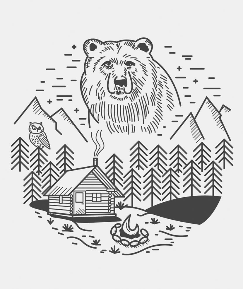 linear bear illustration art