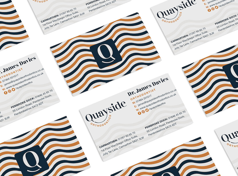 Business cards Quayside Orthodontics 2020