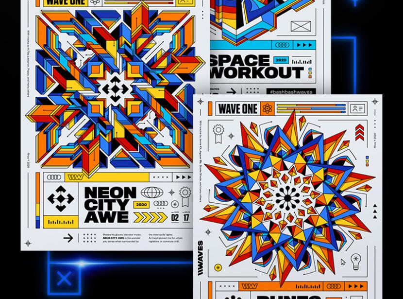 WAVES A - unique poster design
