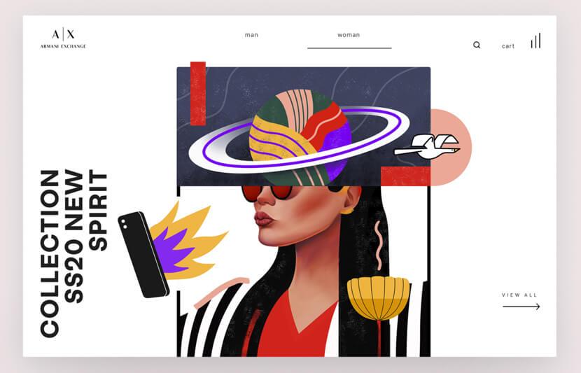Armani Exchange website illustration