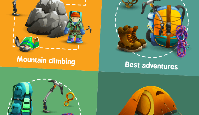 climbing 4 3d icons square banner