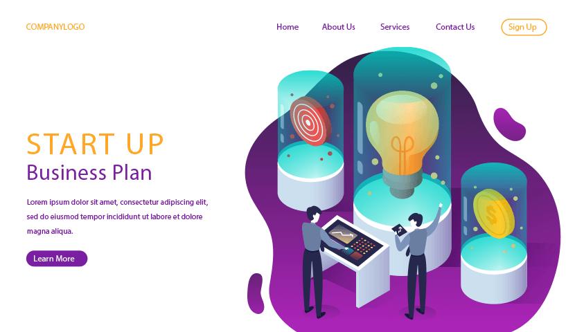 startup landing page isometric design