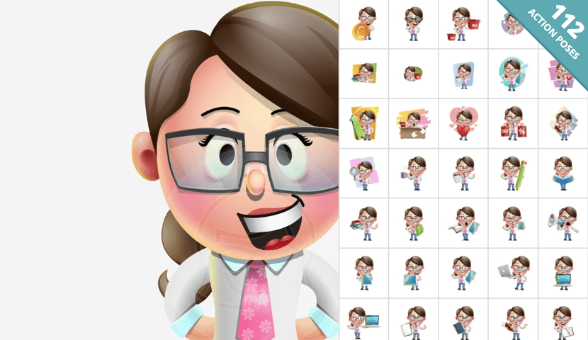 cute vector 3d girl character design