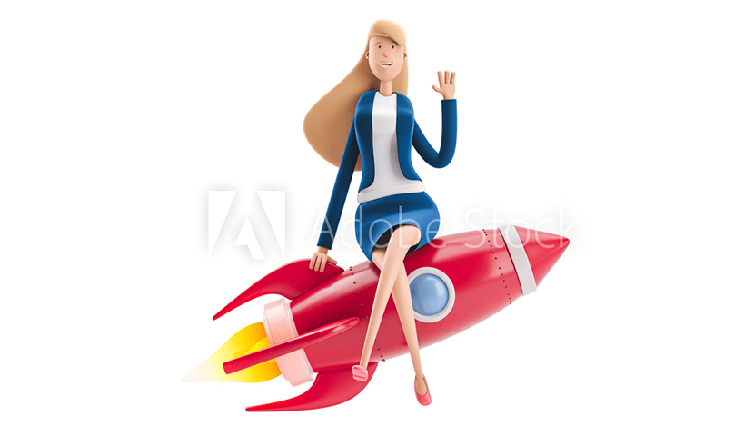 3d illustration young business woman emma with rocket on a white background business concept