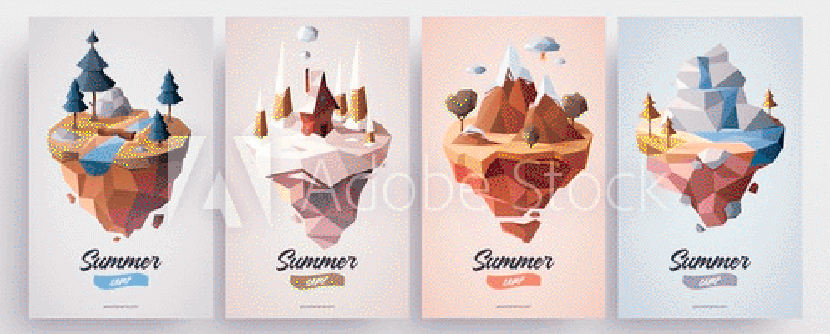 low polygonal geometric nature islands vector illustration