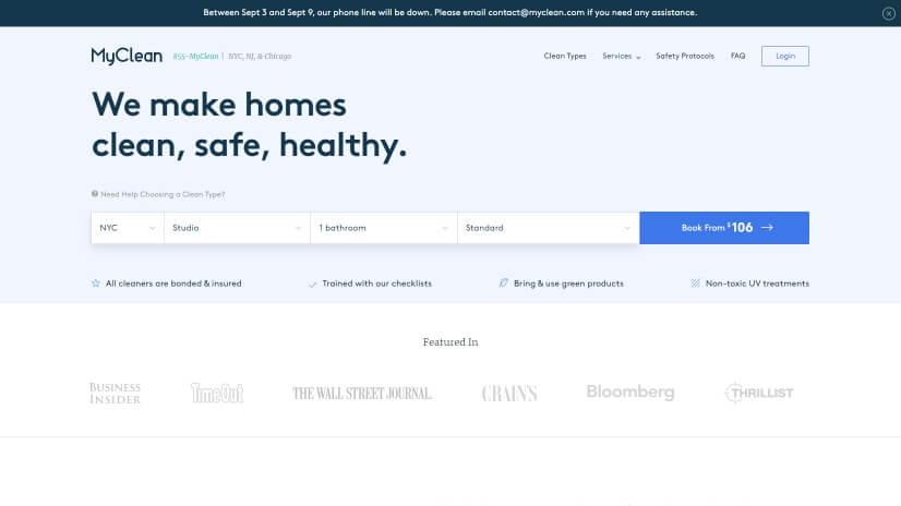 myclean.com - small business website design