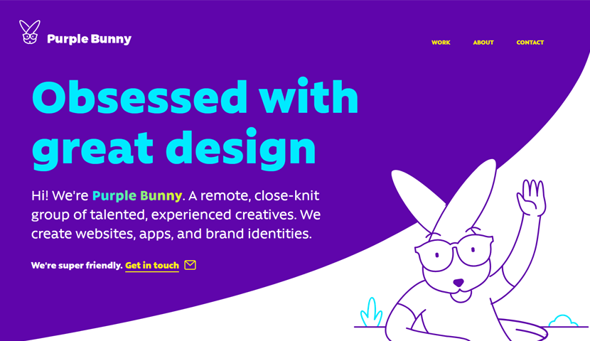 purplebunny.co unique landing page with illustrations