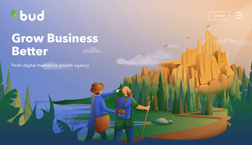 bud.agency creative landing with illustrations on background