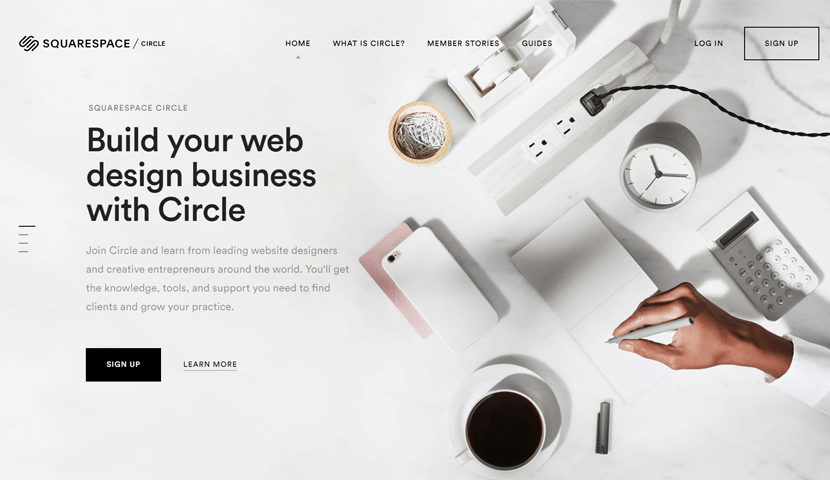 circle.squarespace.com landing page with big images
