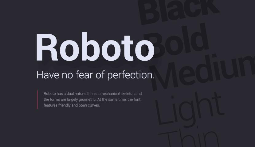 Roboto free typeface
